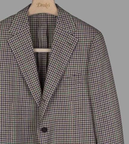 Drake's Brown, Navy and Green Overcheck Wool-Linen Jacket
