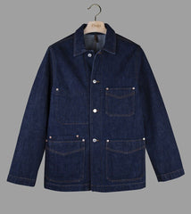 Drake's Dark Wash Denim Five-Pocket Chore Jacket