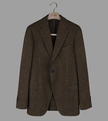 Drake's Brown, Green and Burgundy Houndstooth Wool Jacket