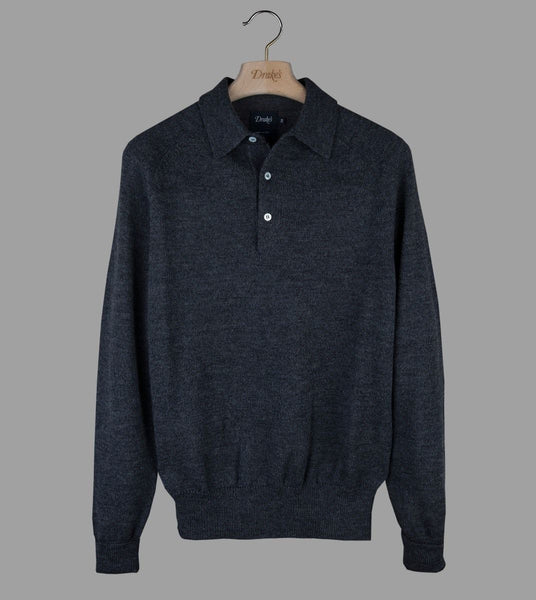 Drake's Grey Merino Wool Long Sleeve Polo Shirt