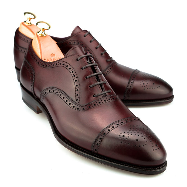 Carmina Shoemaker Semi Brogue in Burgundy Calf