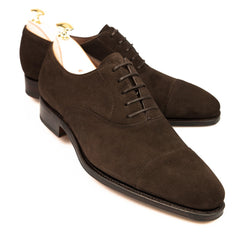 Carmina Shoemaker Captoe Oxford in Chocolate Suede