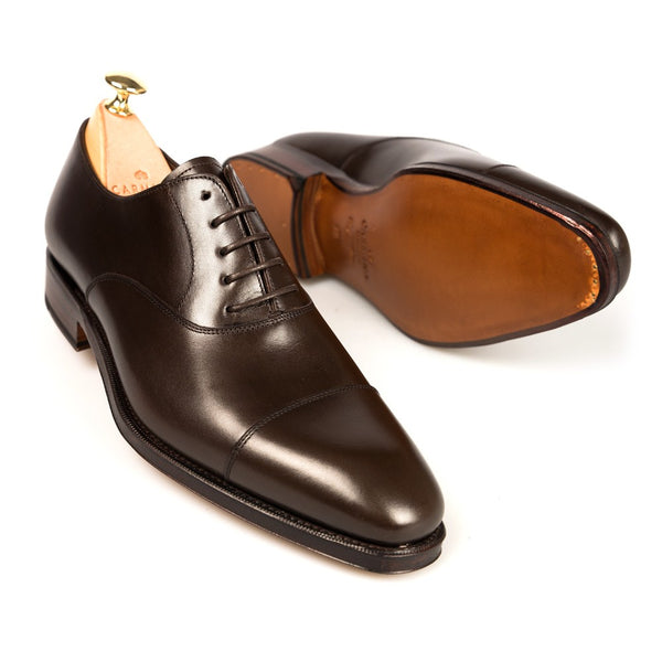 Carmina Shoemaker Captoe Oxford in Dark Brown Calf