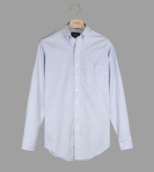 Drake's Blue Ticking Stripe Regular Fit Shirt with Button Down Collar