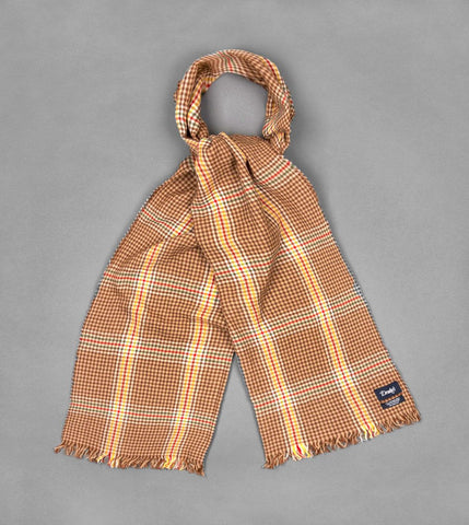 Drake's Beige and Yellow Check Crinkle Merino Scarf