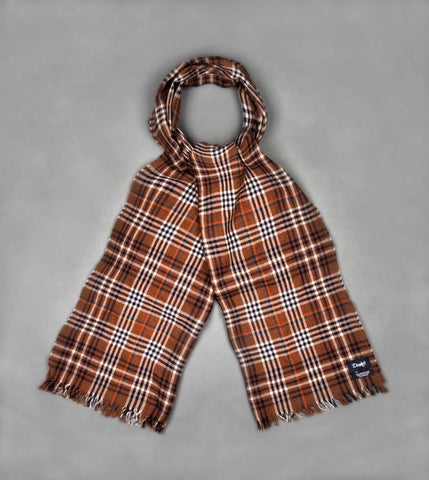 Drake's Brown and Navy Check Crinkle Merino Scarf