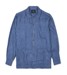 Drake's Blue Washed Linen Overshirt