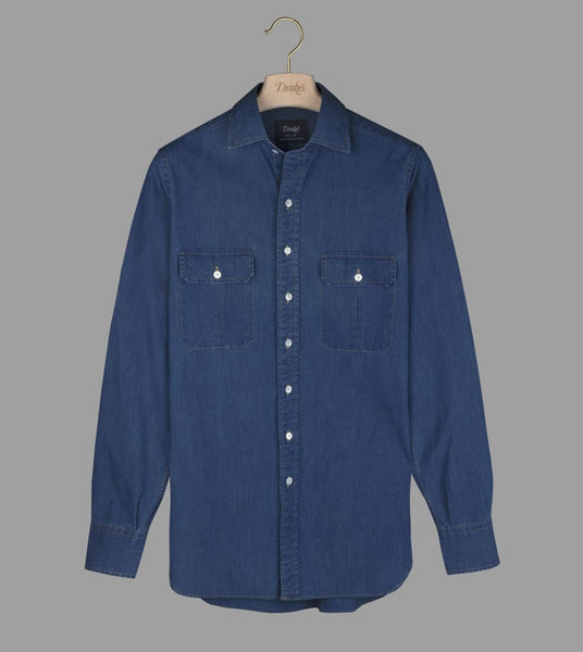 Drake's Bleached Blue Cotton-Linen Denim Two-Pocket Work Shirt