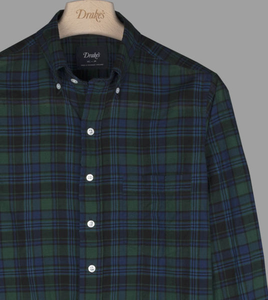 Drake's Navy and Green Check Cotton-Linen Button-Down Shirt