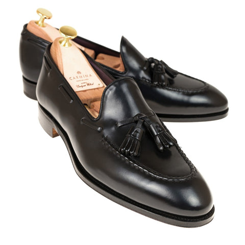 Carmina Shoemaker Tassel Loafer in Black Shell Cordovan