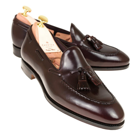 Carmina Shoemaker Tassel Loafer in Burgundy Shell Cordovan
