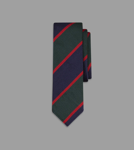 Drake's Green, Navy and Red Regimental Stripe Repp Silk Tie