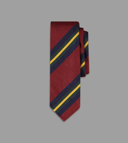 Drake's Red, Gold and Green Sandwich Stripe Repp Silk Tie