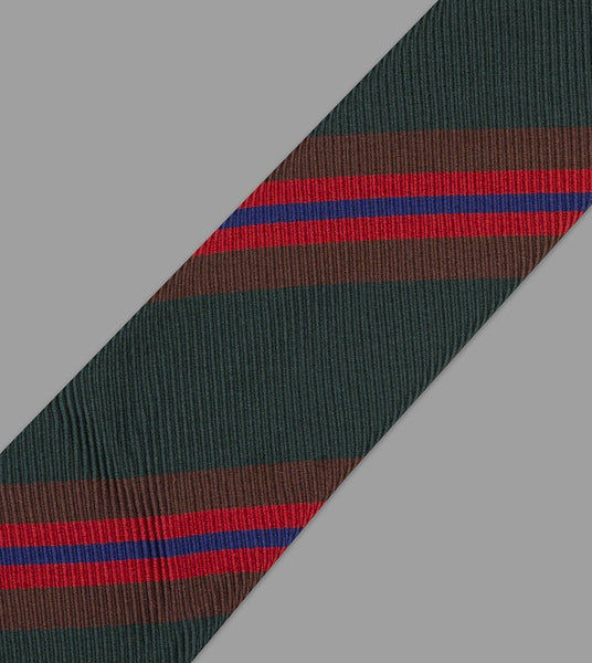Drake's Green, Brown and Red Sandwich Stripe Repp Silk Tie