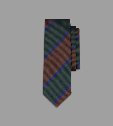 Drake's Brown, Green and Navy Regimental Stripe Repp Silk Tie