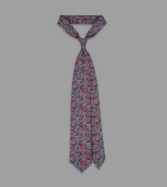 Drake's Teal and Red Brushstroke Print Habotai Silk Tie