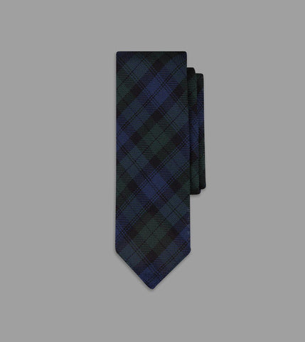 Drake's Blackwatch Tartan Handrolled Fine Woven Grenadine Tie
