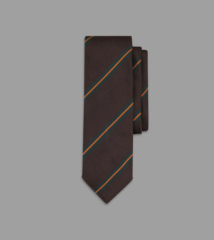 Drake's Brown, Green and Orange Sandwich Stripe Repp Silk Tie