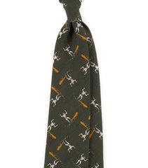 Drake's Khaki Surfer Print Silk and Cotton Tie