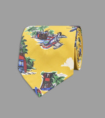 Drake's Yellow Beach Hut Print Shappe Silk Tie