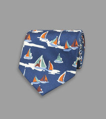 Drake's Blue Sailboat Print Silk Tie