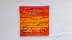 "Captured Lightning Wall Hanger (Resin Inlay, 7.5"" square)"