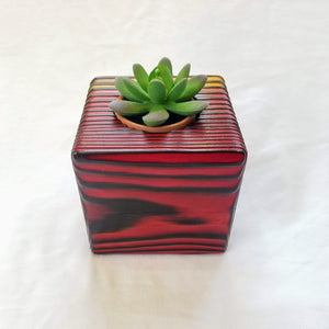 Torched Planter/Candle Cube (Red/Yellow Fade)