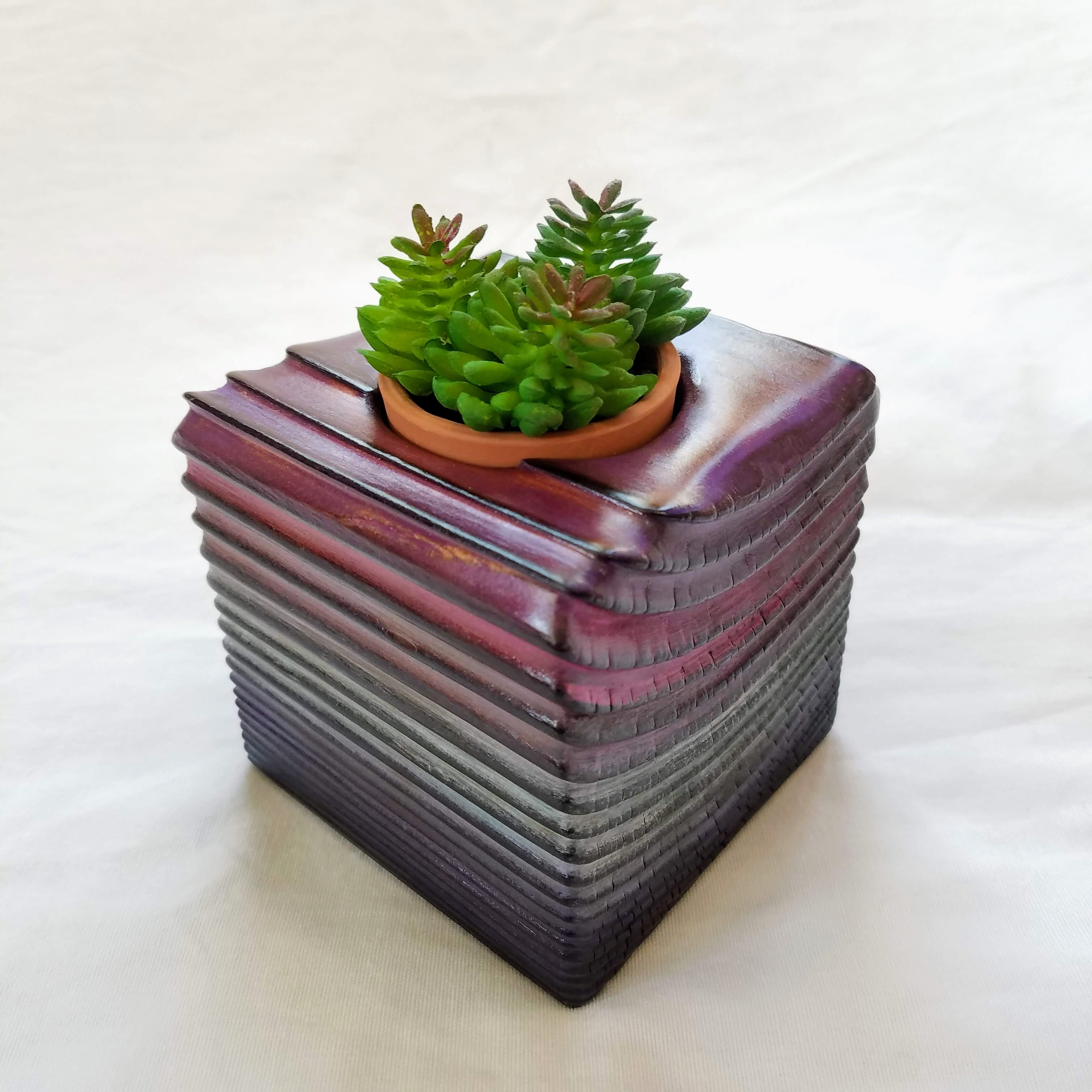Torched Planter/Candle Cube (Purple/Blue Fade)