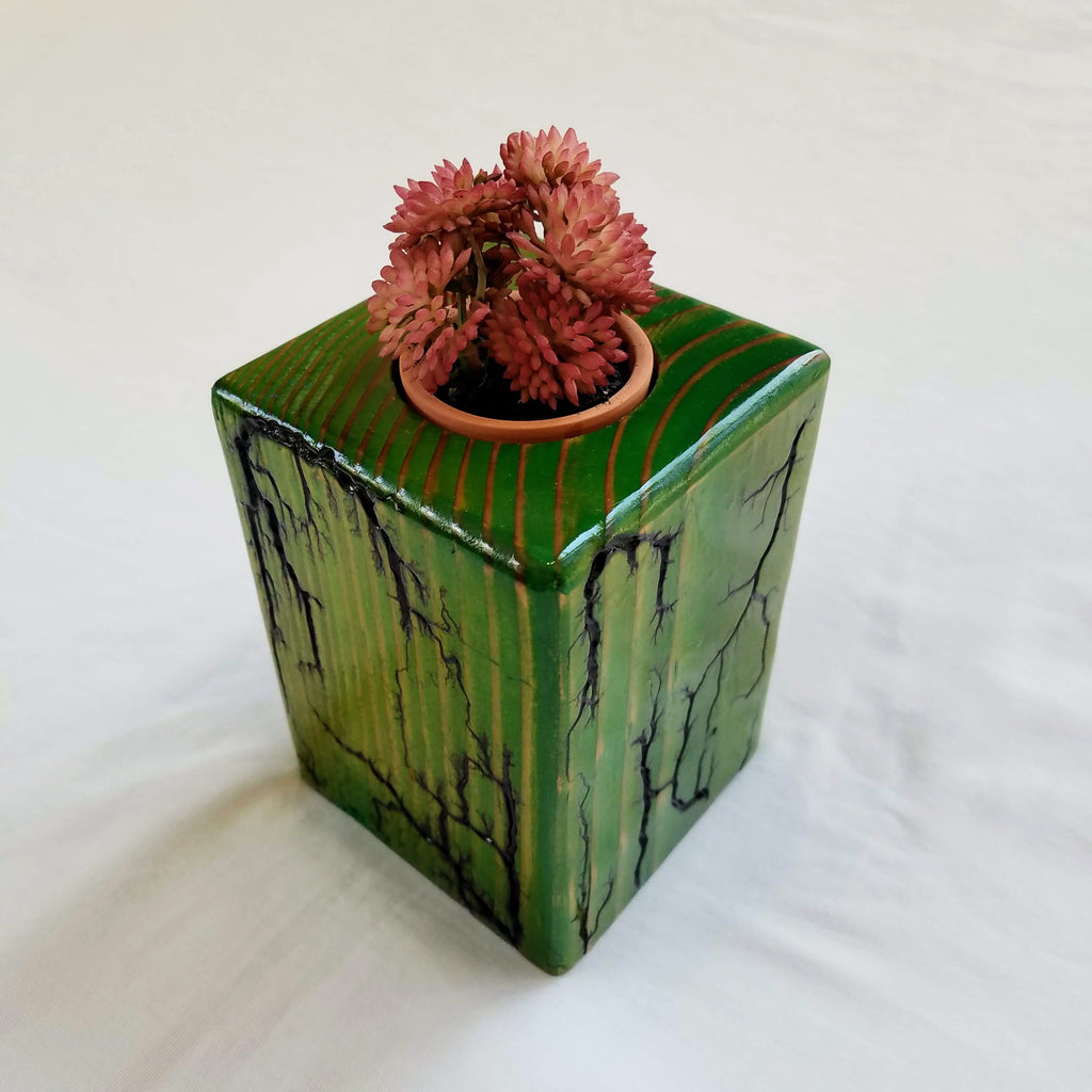 "Fractal Burned Planter/Candle Holder (Hand-painted, 5"" tall)"