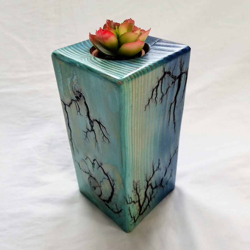 "Fractal Burned Planter/Candle Holder (Hand-painted, 7"" tall)"