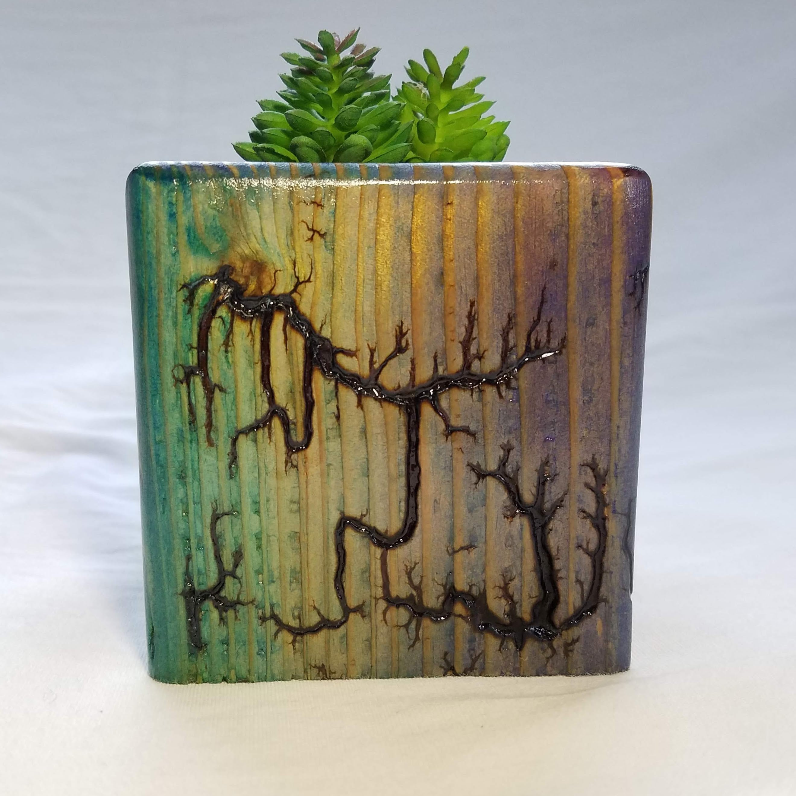 Fractal Burned Planter/Candle Cube (Blue/Purple/Green)