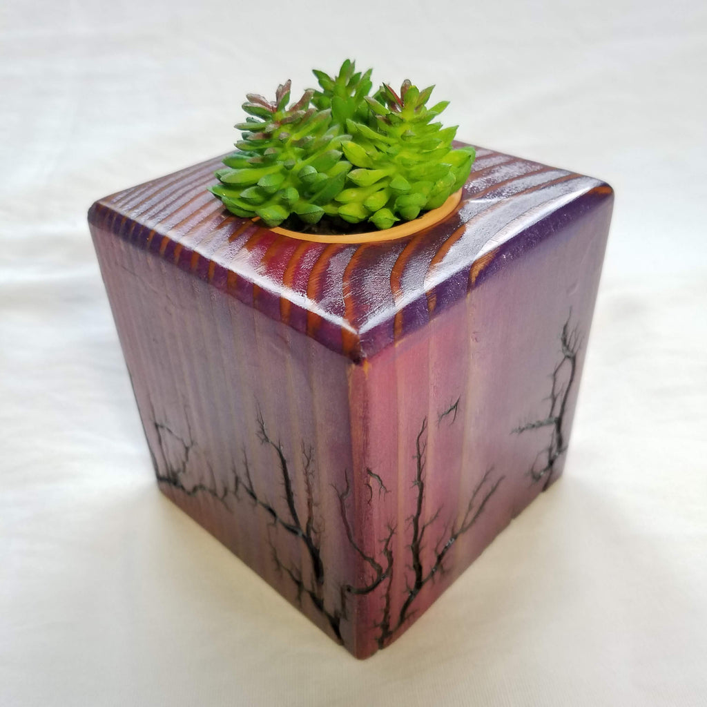 Fractal Burned Planter/Candle Cube (Pink/Purple)