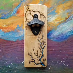 Wall-mounted Magnetic Bottle Opener (Hard Maple)
