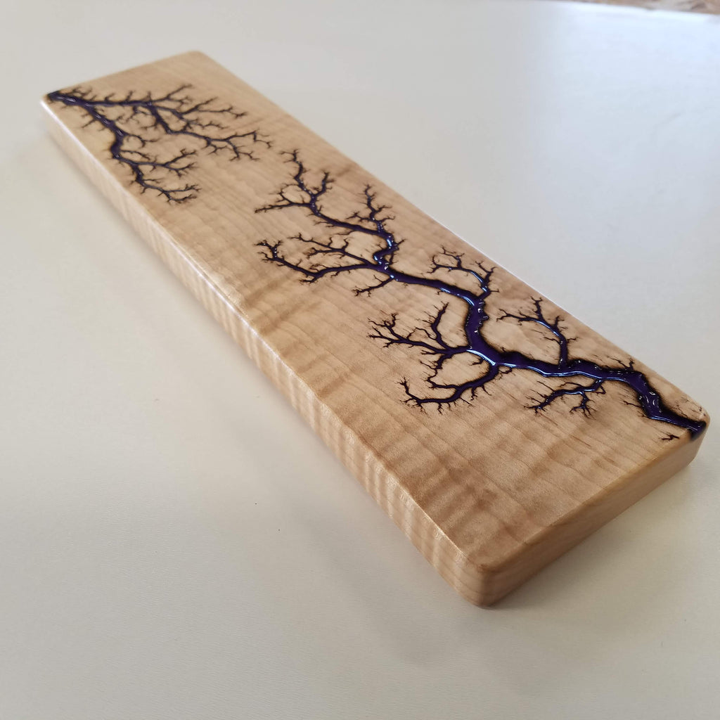 "CURLY MAPLE Wrist Rest (60% 12.5"" , Deep Purple Resin Inlay)"