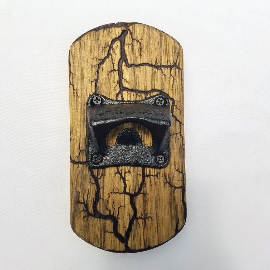 Fridge-mounted Bottle opener (Black Limba - Natural)