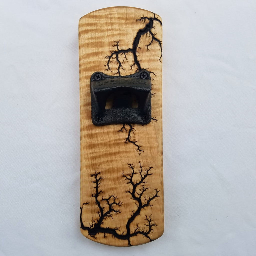 Fridge-mounted Bottle opener (Curly Maple - Natural)