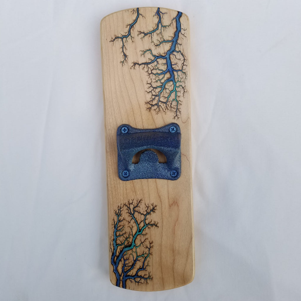 Fridge-mounted Bottle opener (Maple - Blue Gradient)