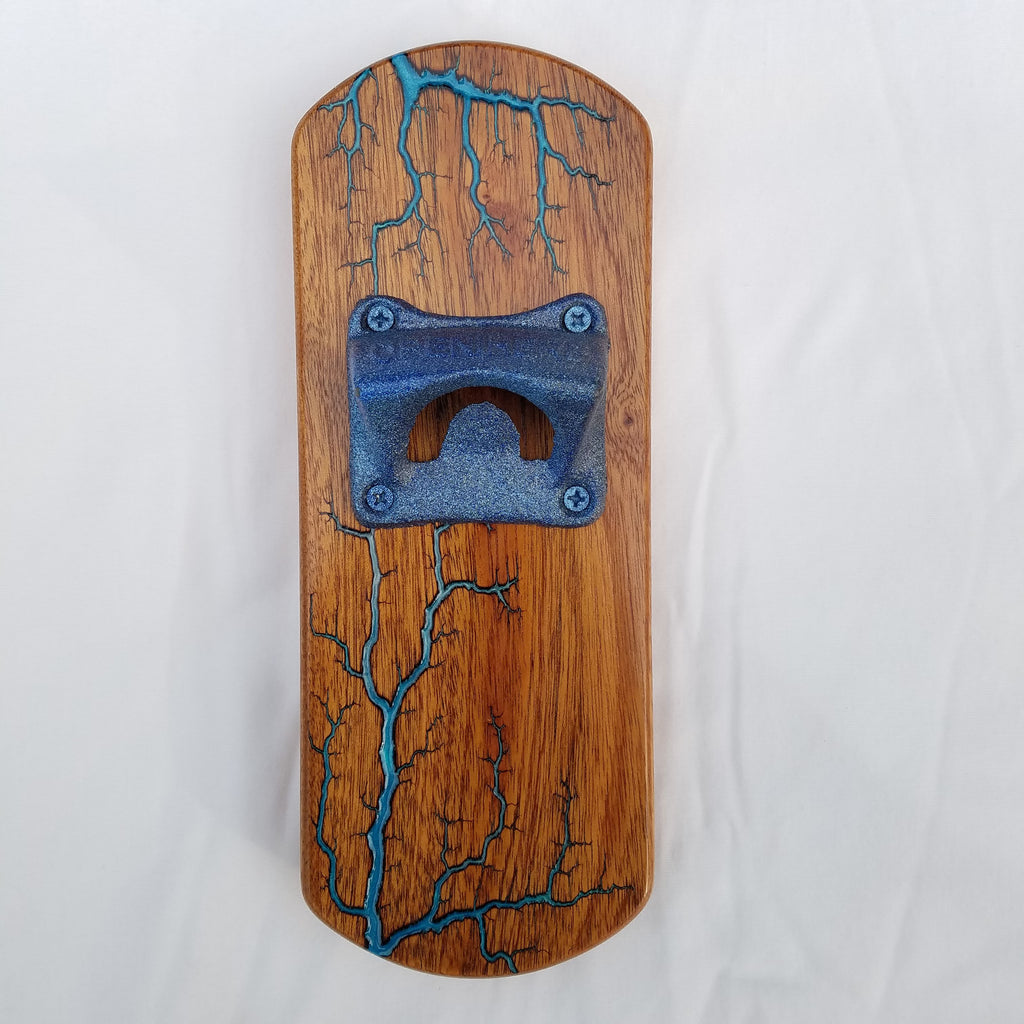 Fridge-mounted Bottle opener (Sapele - Blue)