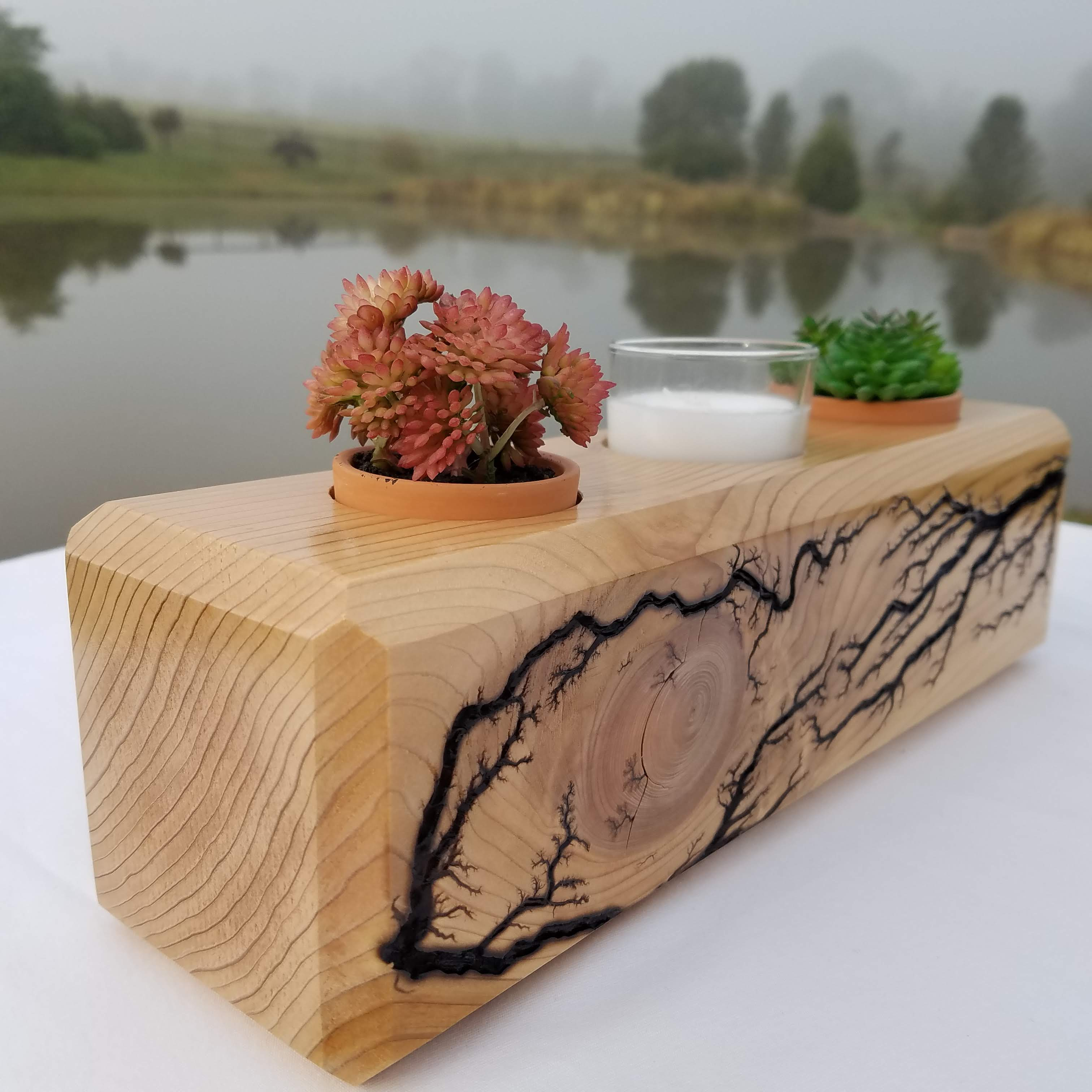 Cedar Geometric Triple Planter (Natural)
