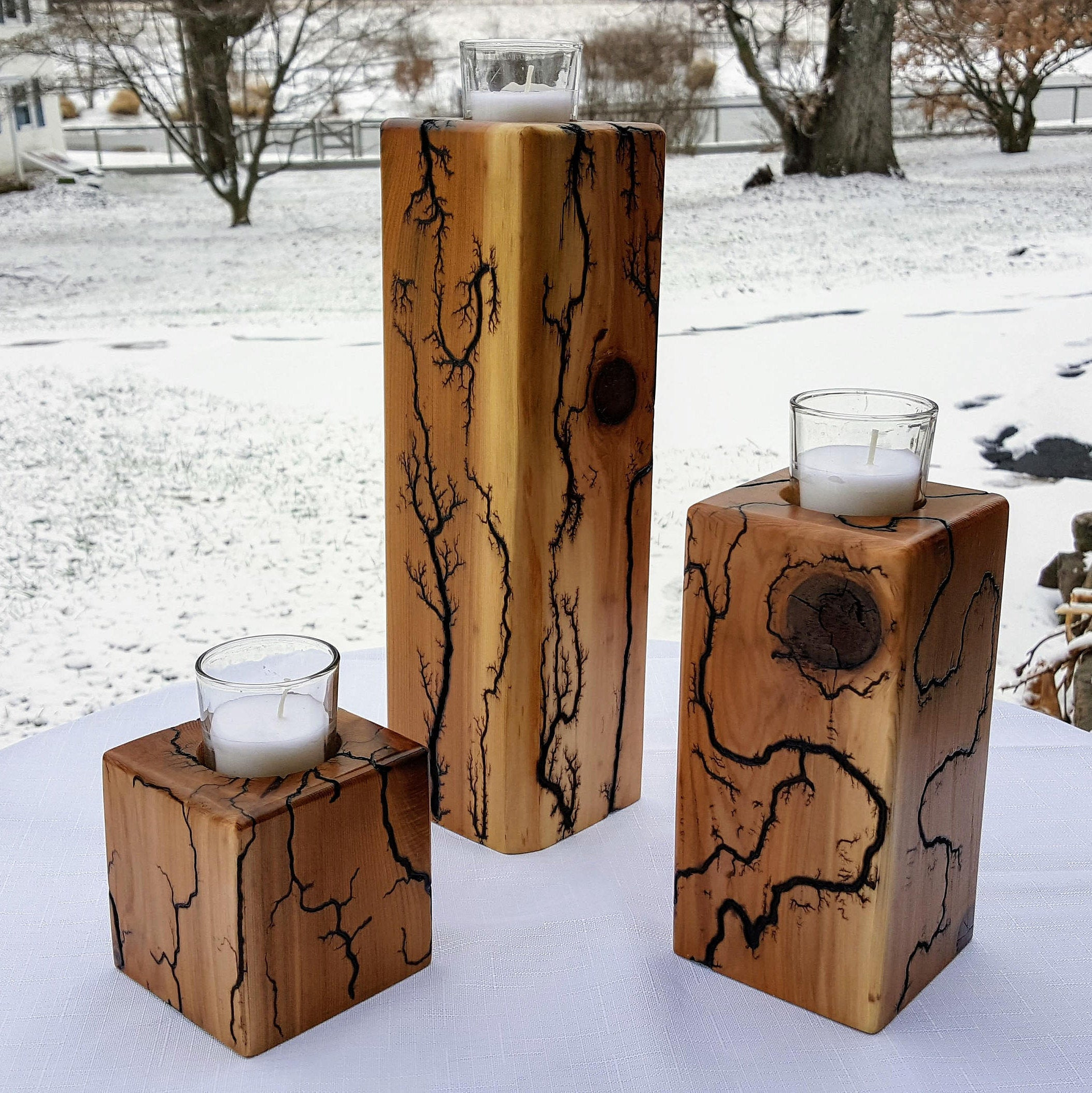 "Cedar ""Captured Lightning"" Candle Pillar Set (Made-to-Order)"