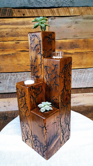 Captured Lightning Four-Pillar Planter/Candleholder (Made-to-order)