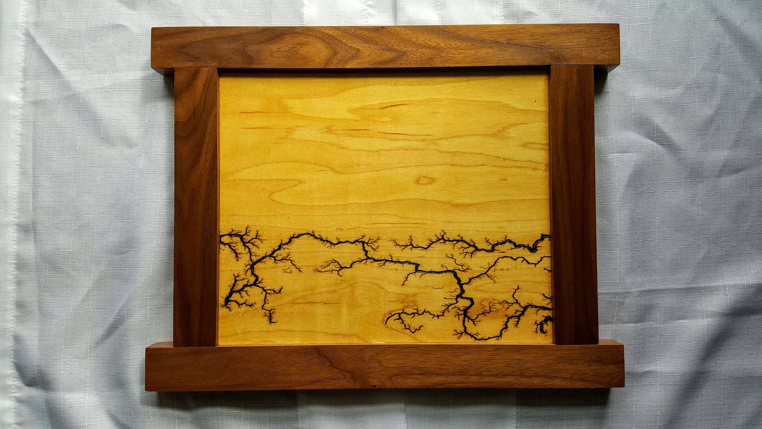 Fractal Landscape Wall Art on Maple and Walnut