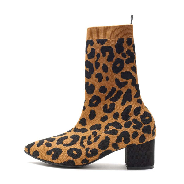 BOOTS POINT - LEOPARD CAMEL BROWN