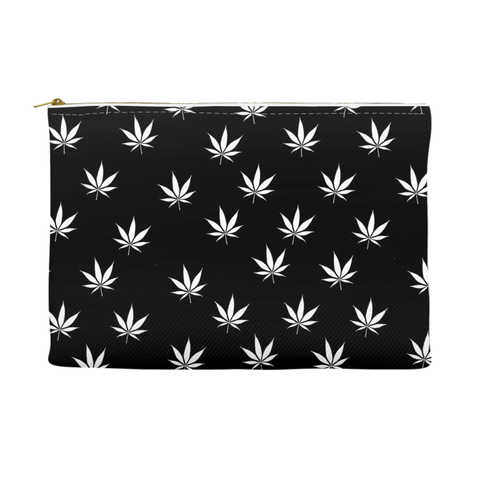 Weed Leaf Pouch - Black with White Leaf