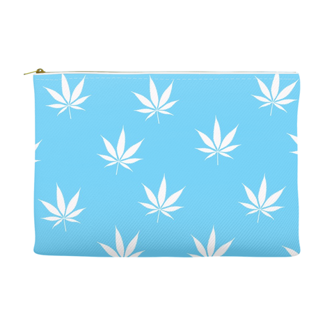 Weed Leaf Pouch - Blue with White Leaf