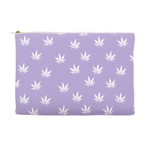 Weed Leaf Pouch - Lavender with White Leaf