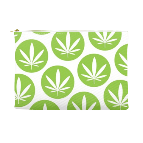 Leaf Dot Pouch - Green and White