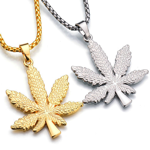 Gold Silver Plated Weed Charm with Long Necklace