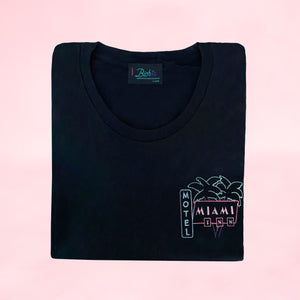 🌴 MIAMI INN MOTEL Black T-Shirt – Woman | Glows in the dark