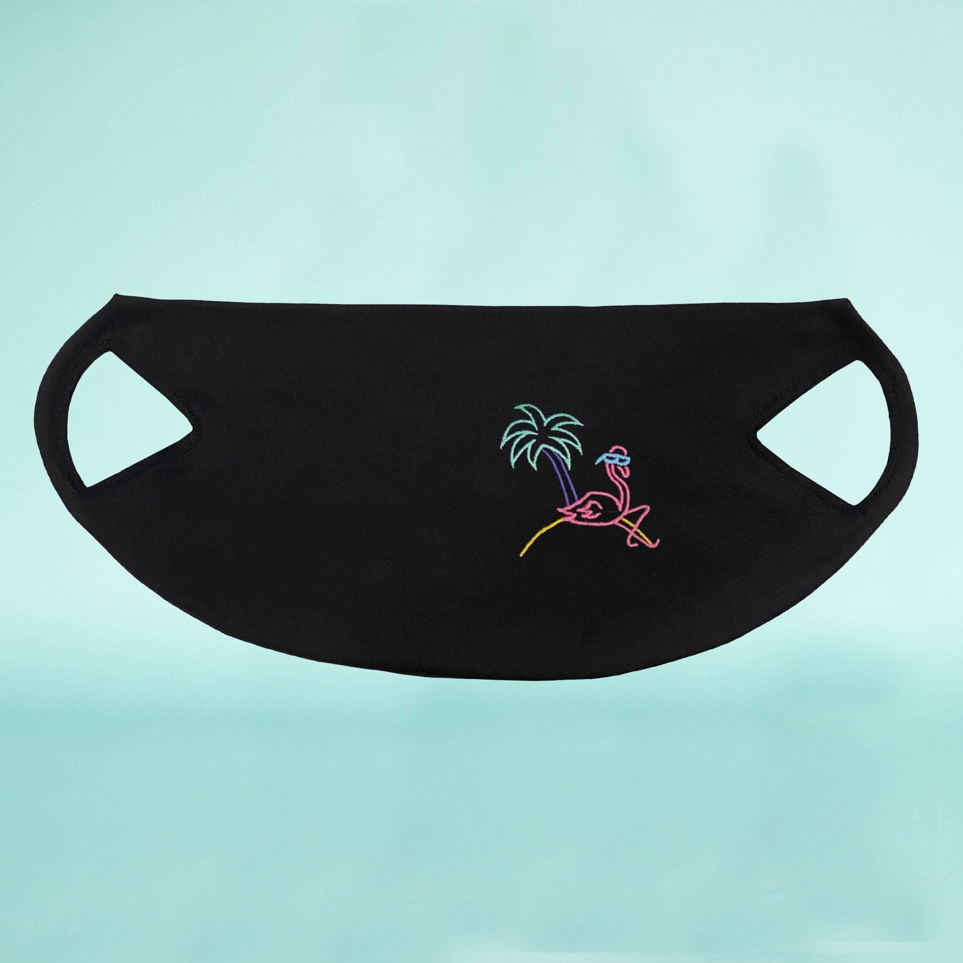 🦩 Retro Flamingo Black washable face mask - Unisex | Glow in the dark